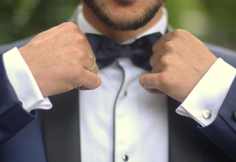 De greep zwart kostuum van de bruidegomvlinderdas royalty-vrije stock fotografie