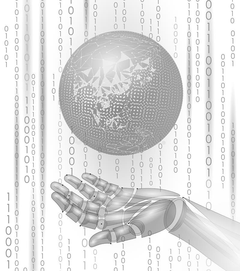 De greepaarde van de robot androïde hand Lage poly veelhoekig vector illustratie
