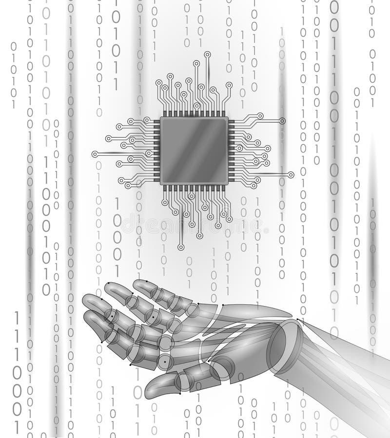 De greepbewerker cpu van de robot androïde hand Lage poly veelhoekig royalty-vrije illustratie