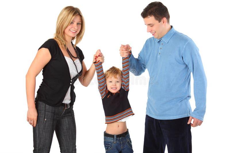 De greepzoon van ouders voor handen royalty-vrije stock afbeelding