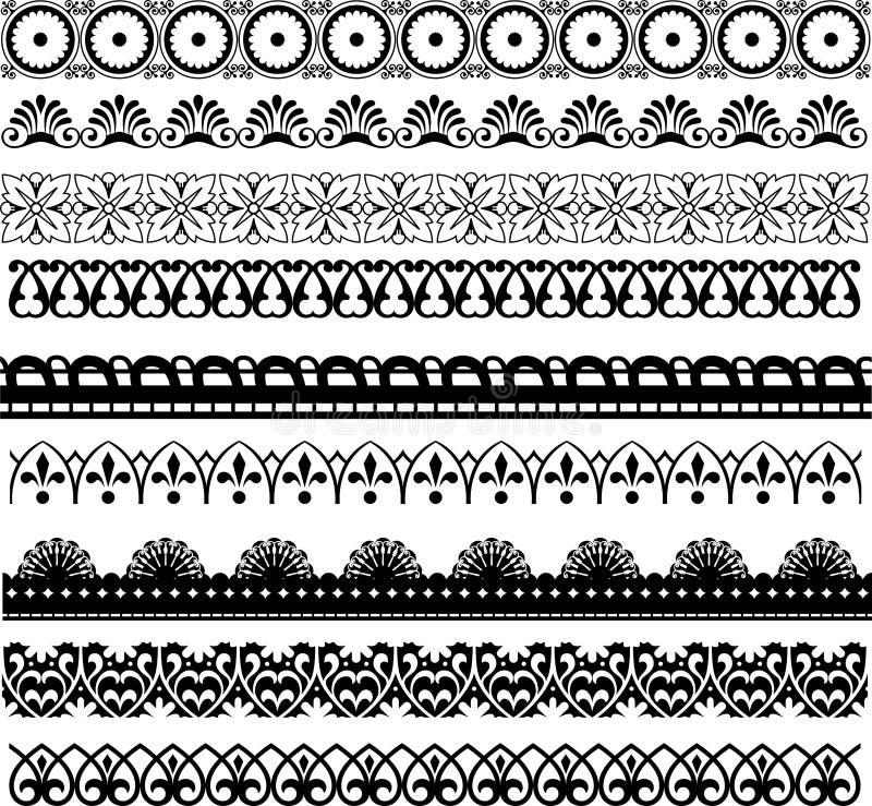 De grens decoratieve ontwerpen van de regellijn royalty-vrije stock afbeelding