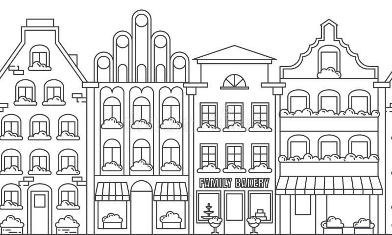 De grens naadloos patroon van het stadslandschap met flatgebouwen De vectorillustratie van de lijnkunst vector illustratie