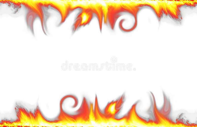 De grens van de brand die op wit wordt geïsoleerd_ stock foto's