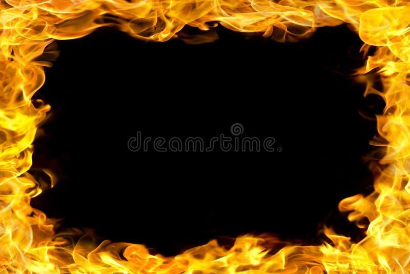 De grens van de brand met vlammen stock foto's