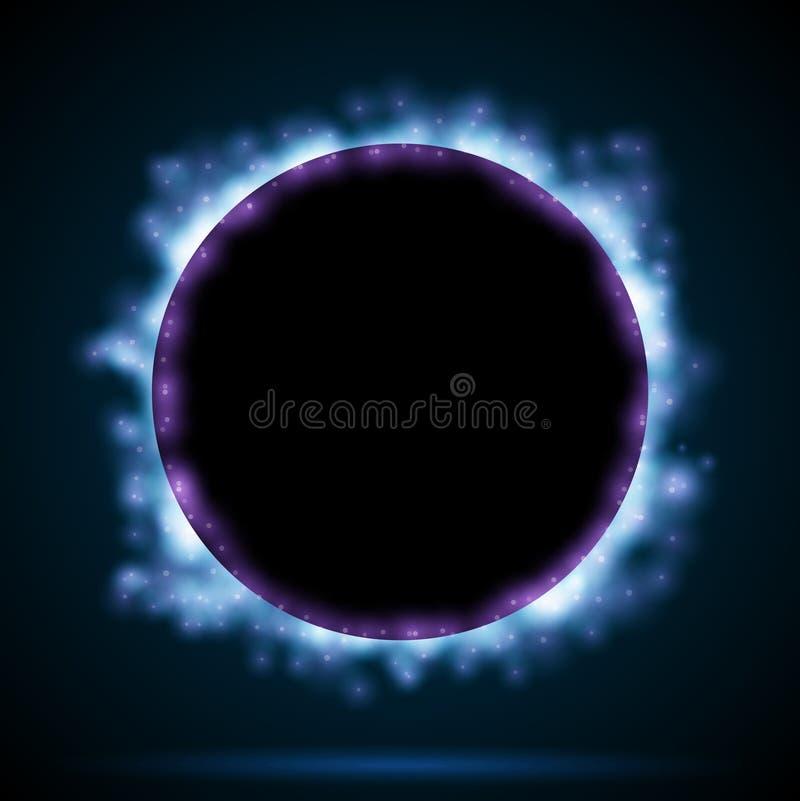 De grens van de cirkel met blauwe vonken stock illustratie