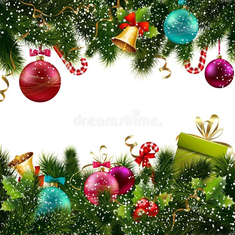 De grens van de Kerstmisdecoratie stock illustratie