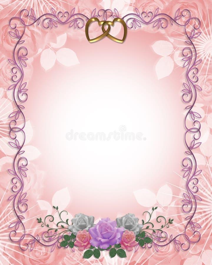De Grens van de uitnodiging van het Huwelijk van rozen vector illustratie
