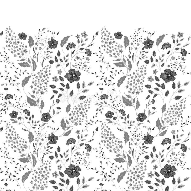 De grens van gevoelige kleine blauwe en witte bloemen op marineblauwe achtergrond van hierboven vlak leg stijl royalty-vrije illustratie