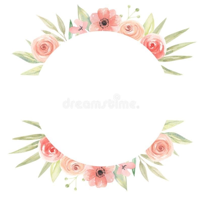 De Grens van de waterverfcirkel bloeit Perzik Coral Floral Frame Leaves stock illustratie