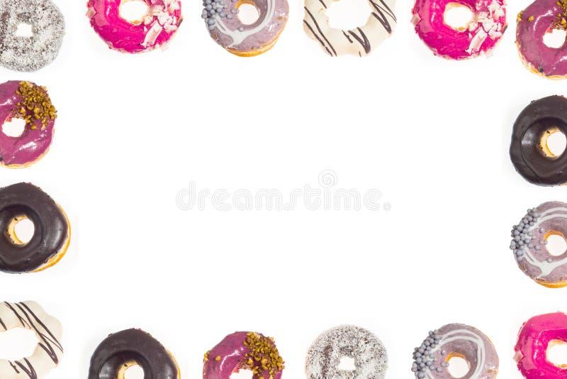 De grens witte achtergrond van het Donutskader stock foto's