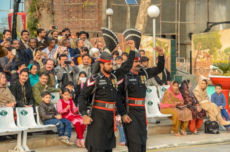 De Grensceremonie van Wagahpakistan India, Lahore, Pakistan royalty-vrije stock foto's