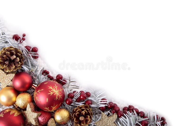De grenskader van de Kerstmishoek met witte exemplaarruimte stock foto