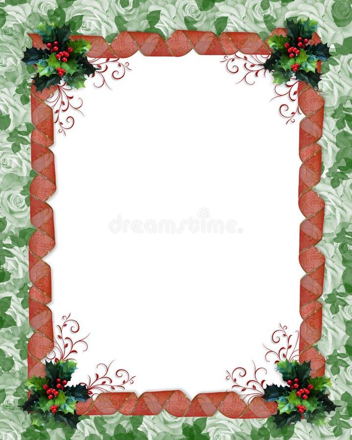 De grenslinten en hulst van Kerstmis vector illustratie
