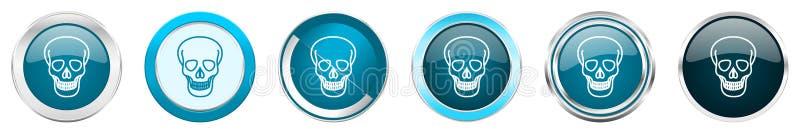 De grenspictogrammen van het schedel zilveren metaalchroom in 6 opties, reeks Web blauwe ronde die knopen op witte achtergrond wo vector illustratie
