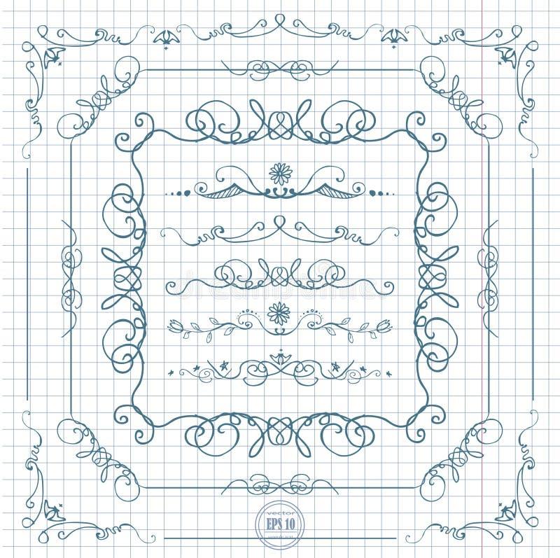 De grensreeks van de inkt hand-drawn lijn vector illustratie