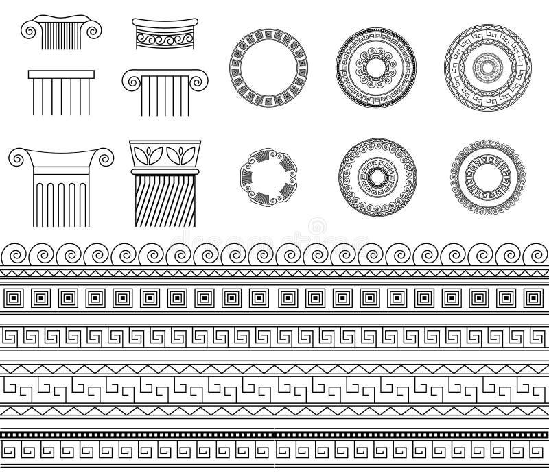 De Griekse Etnische grenzen, de kaders en de kolommen van de inzamelings traditionele meander royalty-vrije illustratie