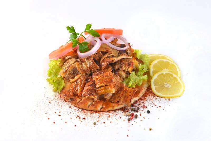 De Griekse maaltijd van het de ongezonde kostvlees van de gyroscopensandwich stock fotografie