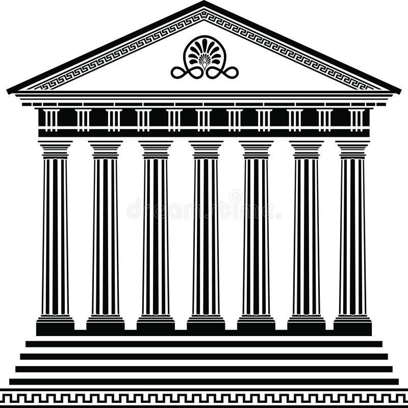 De Griekse tempel stencilt tweede variant royalty-vrije illustratie
