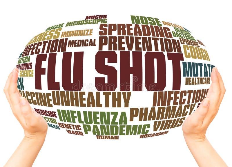 De griep schoot het concept van het de handgebied van de woordwolk stock illustratie
