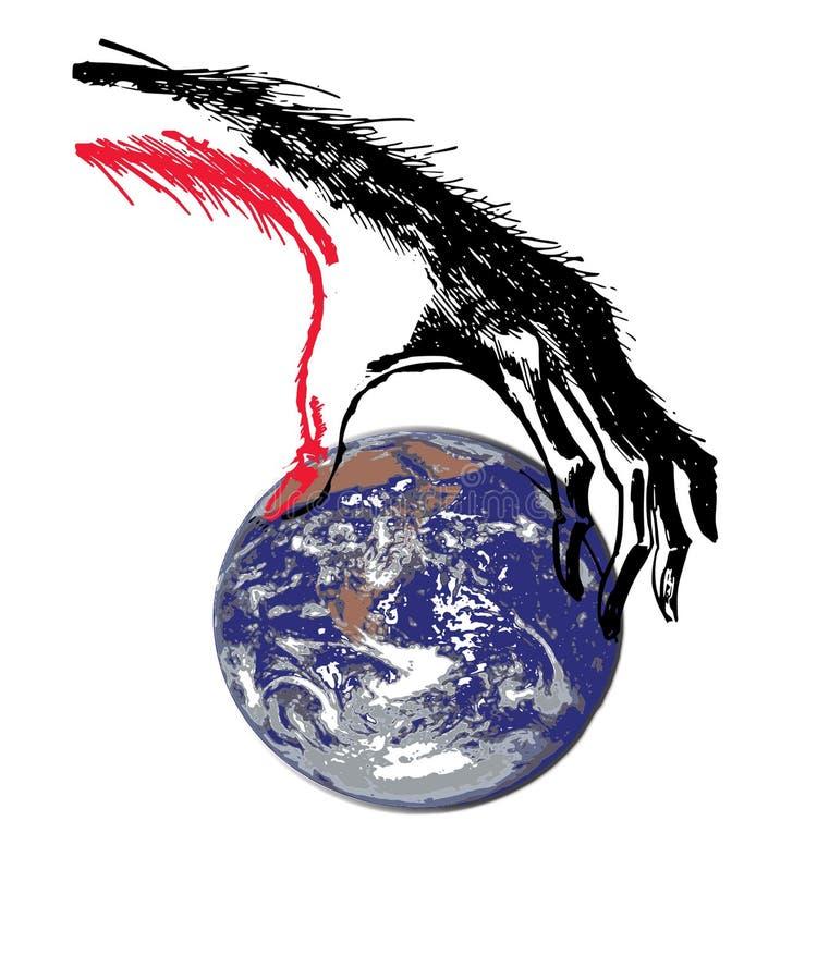 De griezelige Aarde van de Handenholding stock foto