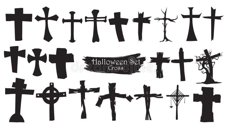 De griezelige dwarsinzameling van het begraafplaatssilhouet van Halloween-vector royalty-vrije illustratie