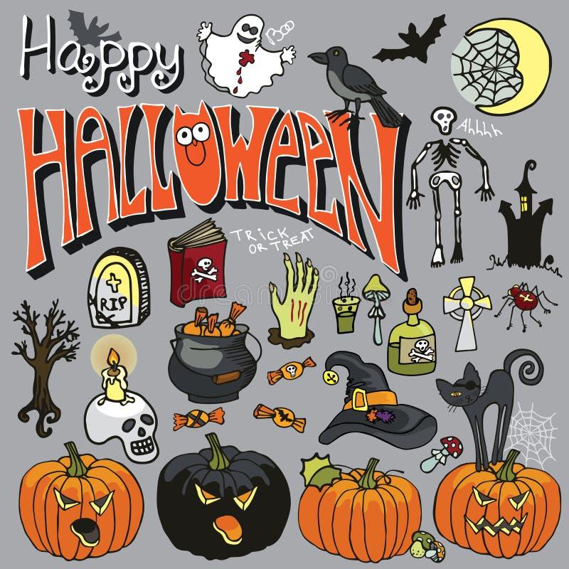 De griezelige elementen van Halloween en tekstreeks stock illustratie