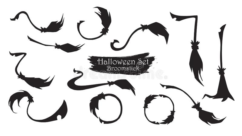 De griezelige inzameling van het bezemsteelsilhouet van vectorisol van Halloween vector illustratie