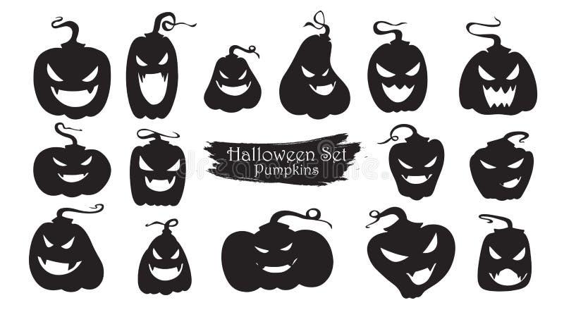 De griezelige inzameling van het pompoenensilhouet van Halloween-vector isolat vector illustratie
