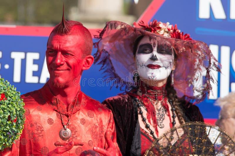 De griezelige karakters kleedden zich omhoog voor vieringen royalty-vrije stock foto's