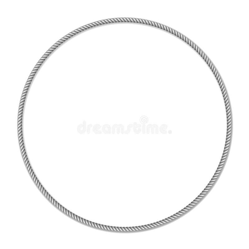 De grijs-witte kabel geweven cirkel vectorgrens, omcirkelt vectorkader vector illustratie