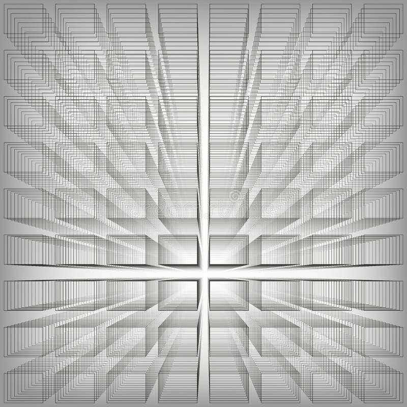 De grijze achtergrond van de kleuren abstracte oneindigheid, 3d structuur die met rechthoeken illusie van diepte en perspectief,  royalty-vrije illustratie