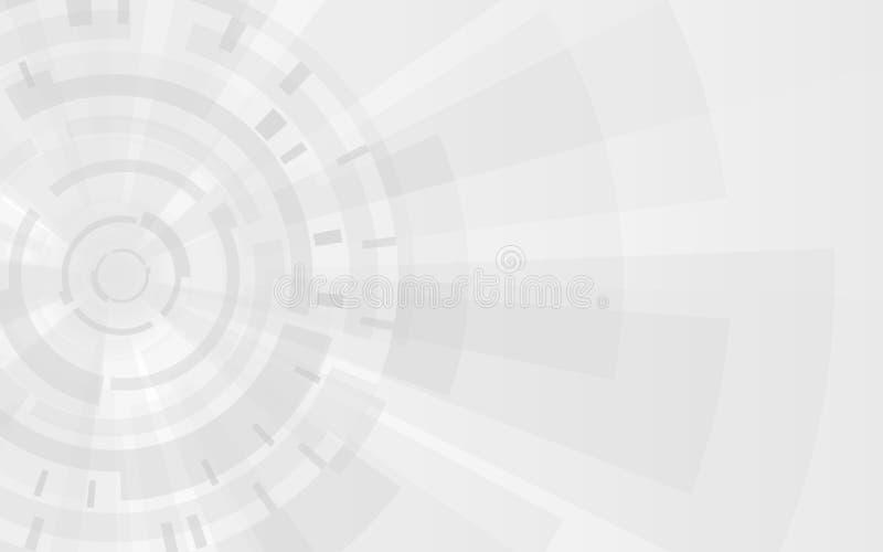 De grijze achtergrond van de Technologie Toestellen en futuristische elementen Abstracte gradiëntvormen Modern vectorontwerpmalpl stock illustratie