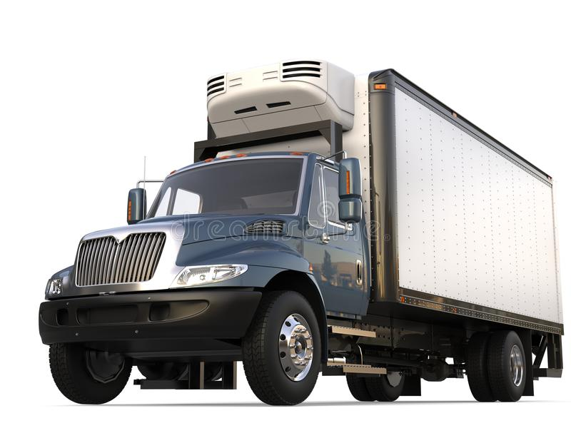 De grijze blauwe moderne vrachtwagen van de koelkastlading royalty-vrije stock foto
