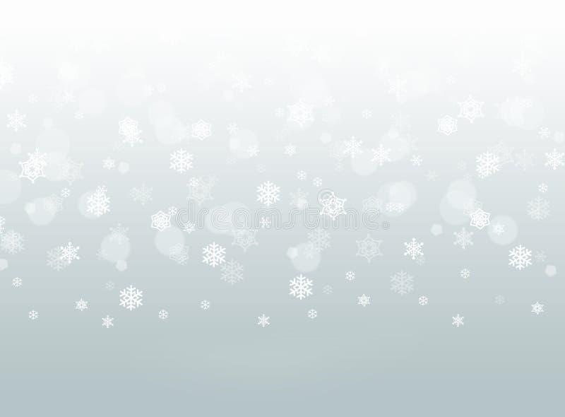 De grijze dalende achtergrond van de sneeuwvlok abstracte winter bokeh royalty-vrije illustratie