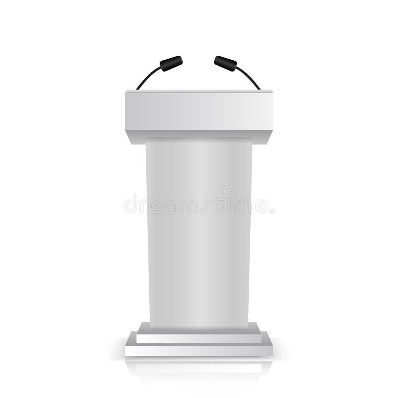 De grijze die stadiumtribune of rostra van het debatpodium met microfoons voor spreker op witte achtergrond wordt geïsoleerd 3d r royalty-vrije illustratie
