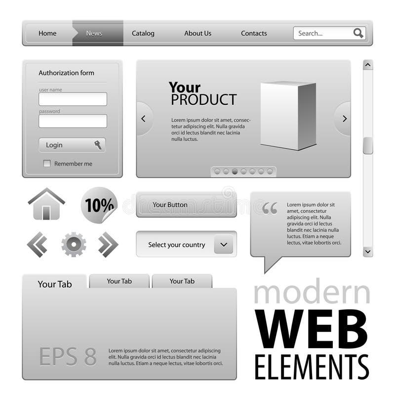 De grijze Elementen van het Ontwerp van de Website royalty-vrije illustratie