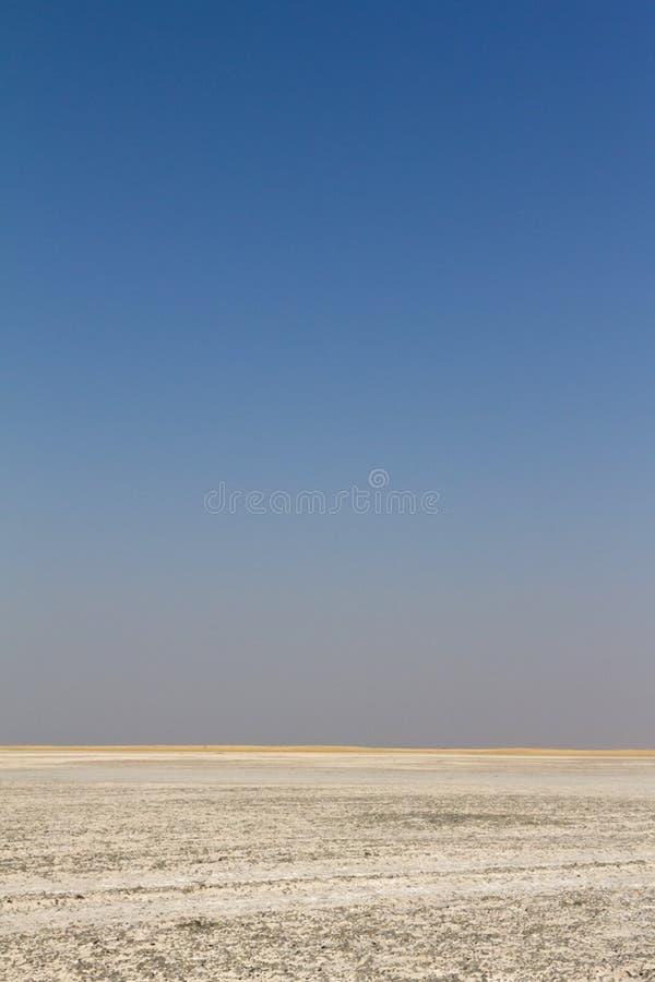 De grijze en blauwe hemel over de Makgadikgadi-pannen royalty-vrije stock foto