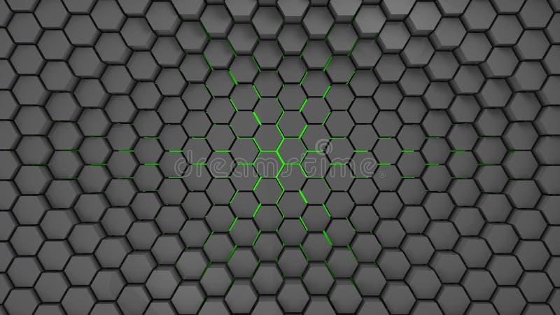 De grijze en groene abstracte 3d achtergrond van metaalzeshoeken, geeft terug stock illustratie