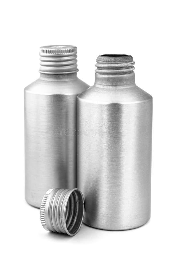 De grijze Flessen van het Metaal stock foto's