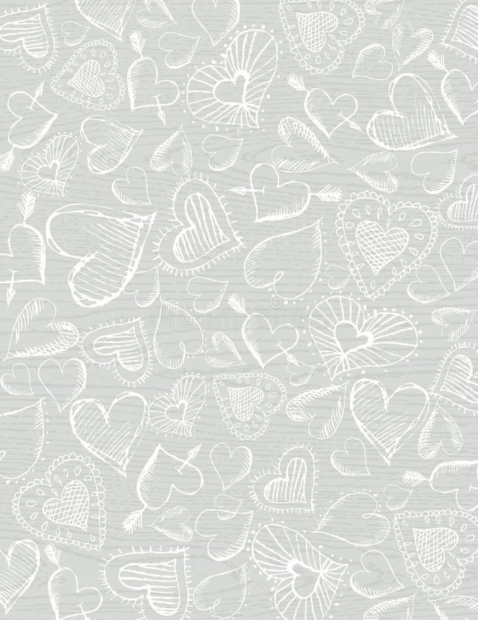 De grijze houten achtergrond met hand trekt harten royalty-vrije illustratie