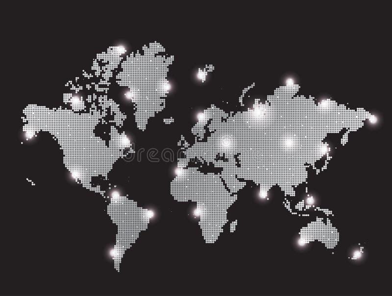 De grijze kaart van de pixelwereld royalty-vrije illustratie