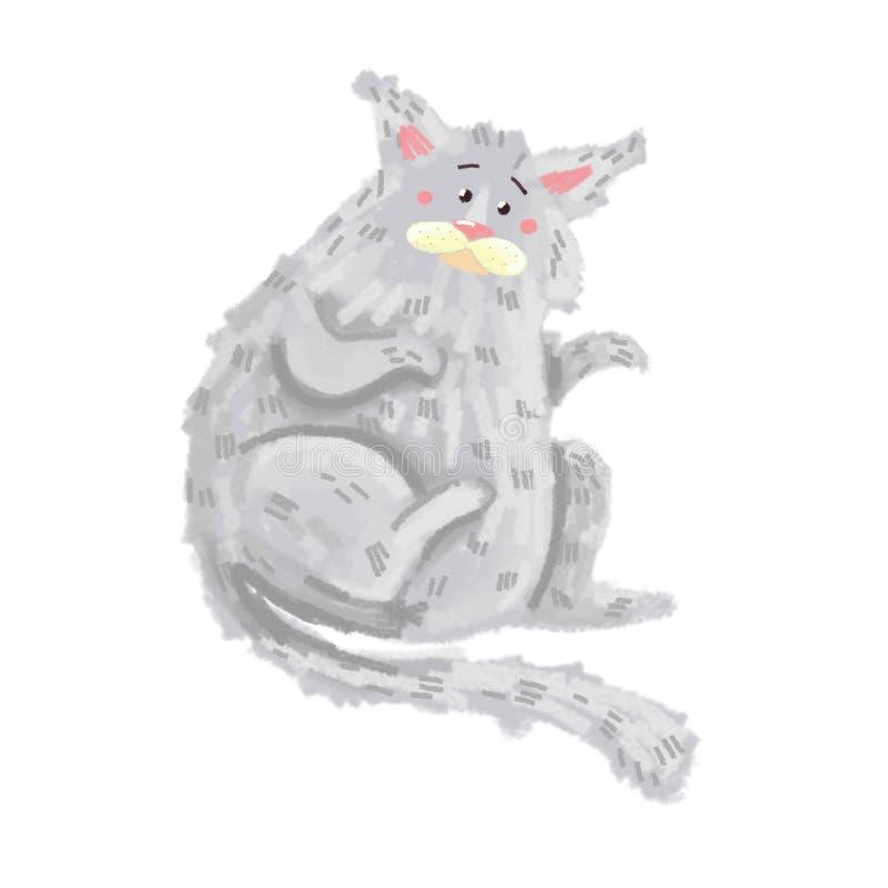 De grijze kat ligt op de rug stock afbeelding