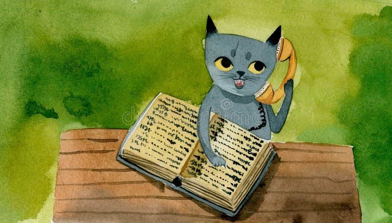De grijze kat met een telefoonboek spreekt op de telefoon, royalty-vrije illustratie