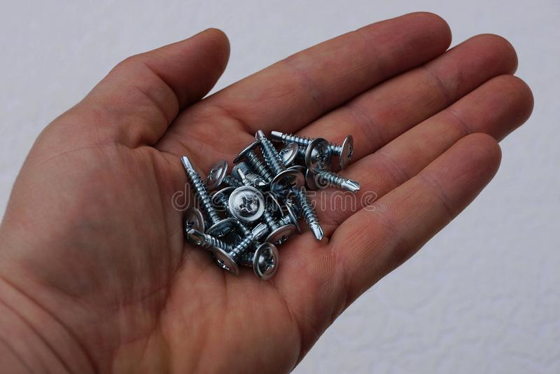 De grijze kleine schroeven liggen op een open palm stock fotografie