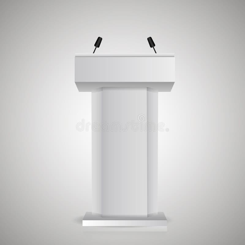 De grijze stadiumtribune of rostra van het debatpodium met microfoons voor spreker 3d realistische tribunepictogrammen vector illustratie