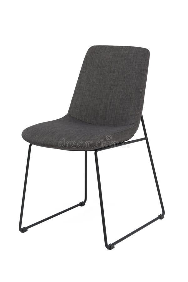 De grijze stoel van de kleurendoek met chroombenen, moderne ontwerper Stoel op witte achtergrond wordt geïsoleerd die Meubilair e royalty-vrije stock foto