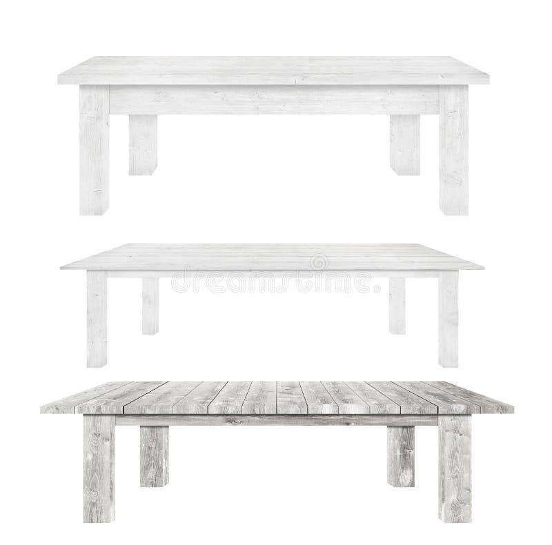 De grijze uitstekende houten keukenlijsten zijn geïsoleerde witte achtergrond stock foto