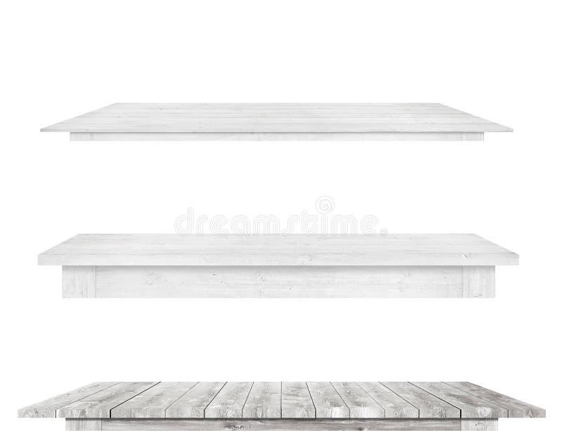 De grijze uitstekende houten keukentafelbladen zijn geïsoleerde witte achtergrond stock foto