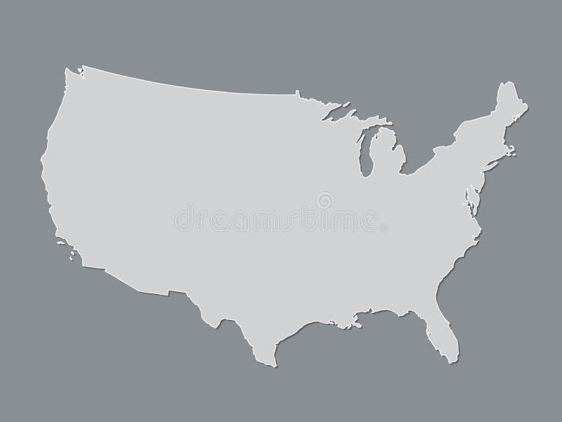 De grijze of witte atlas van de Verenigde Staten van Amerika met gevulde lijnen zonder verschillende staten op donkere achtergron stock illustratie
