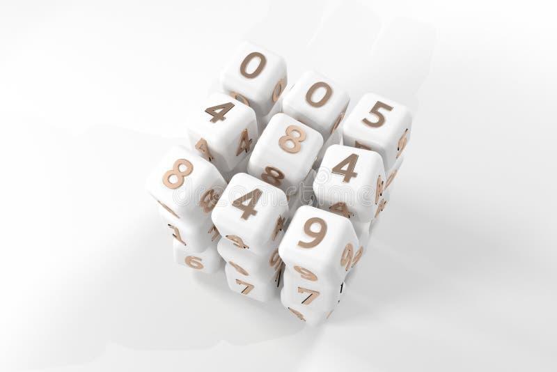 De grijze of zwart-witte b&w-Samenvatting, de kubus of het blokaantal ondertekenen of symbool Behang voor grafisch ontwerp 3d gee stock illustratie